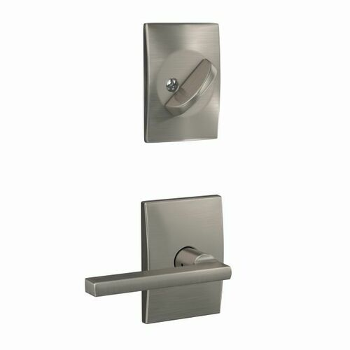 Schlage FC59LAT619CEN Custom Latitude Lever with Century Rose Interior Active Trim with 16680 Latch and 10269 Strike Satin Nickel Finish