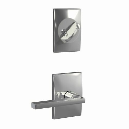 Schlage FC59LAT625CEN Custom Latitude Lever with Century Rose Interior Active Trim with 16680 Latch and 10269 Strike Bright Chrome Finish