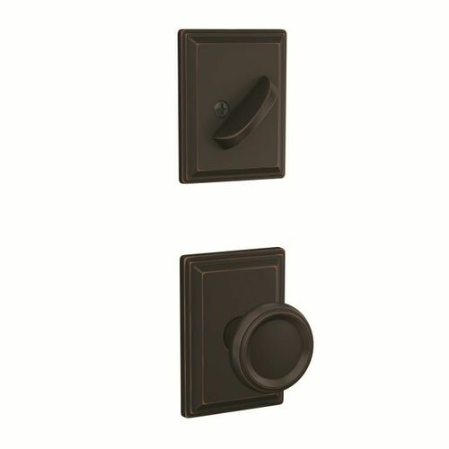 Schlage FC59OFM716GDV Offerman Knob with Grandville Rose Interior Active Trim with 16680 Latch and 10269 Strike Aged Bronze Finish