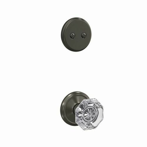 Schlage FC94ALX530ALD Alexandria Glass Knob with Alden Rose Dummy Interior Trim Black Stainless Finish