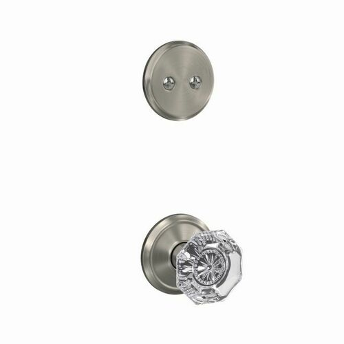 Schlage FC94ALX619ALD Custom Alexandria Glass Knob with Alden Rose Dummy Interior Trim Satin Nickel Finish