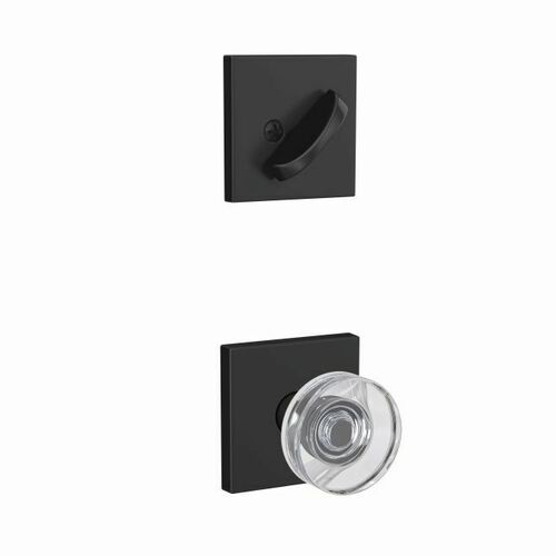 Schlage FC94DAW622COL Dawes Glass Knob with Collins Rose Dummy Interior Trim Matte Black Finish