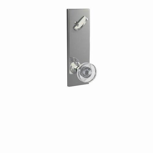 Schlage FCT59DAW625CEN Dawes Glass Knob with Century Escutcheon Interior Active Trim with 16680 Latch and 10269 Strike Bright Chrome Finish