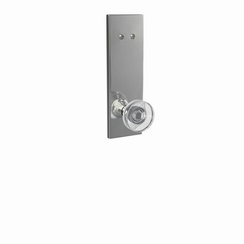 Schlage FCT94DAW625CEN Dawes Glass Knob with Century Escutcheon Dummy Interior Trim Bright Chrome Finish