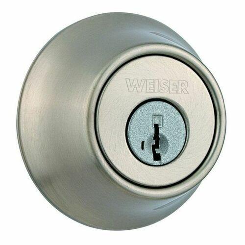 Weiser Lock GDC937115S Double Cylinder Deadbolt with Smart Key with Round Corner Adjustable Latch and Round Corner Strike Satin Nickel Finish