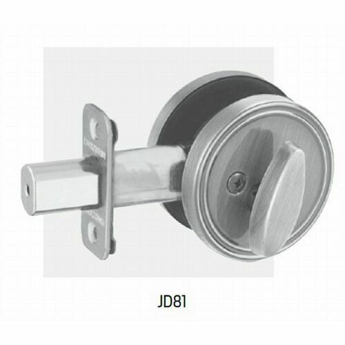 Dexter JD81619 One Sided Deadbolt With Plate with Adjustable Latch and Radius Strike Satin Nickel Finish