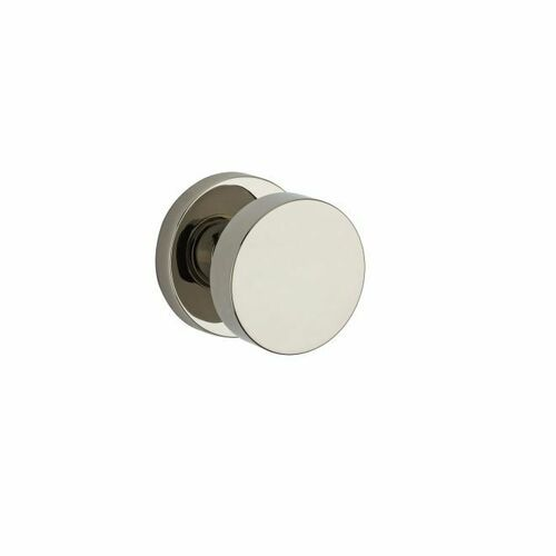 Baldwin PSCONCRR141 Passage Contemporary Knob with Contemporary Round Rose with 6AL Latch and Dual Strike Bright Nickel Finish