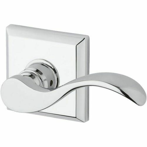 Baldwin PSCURTSR260 Passage Curved Lever and Traditional Square Rose with 6AL Latch and Dual Strike Bright Chrome Finish