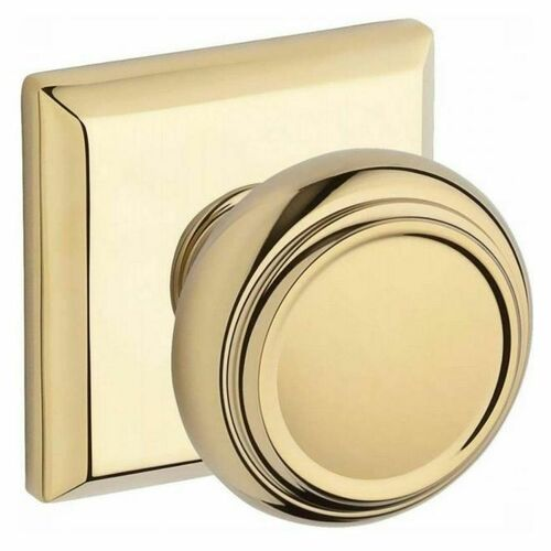 Baldwin PSTRATSR003 Passage Traditional Knob and Traditional Square Rose with 6AL Latch and Dual Strike Lifetime Brass Finish