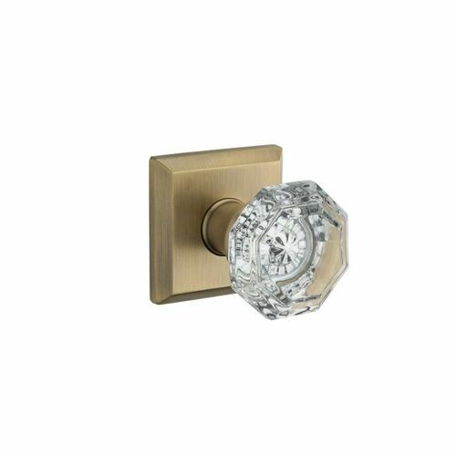 Baldwin PVCRYTSR049 Privacy Crystal Knob and Traditional Square Rose with 6AL Latch and Dual Strike Matte Brass with Black Finish