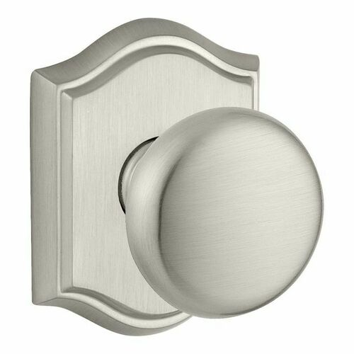 Baldwin PVROUTAR150 Privacy Round Knob and Traditional Arch Rose with 6AL Latch and Dual Strike Satin Nickel Finish