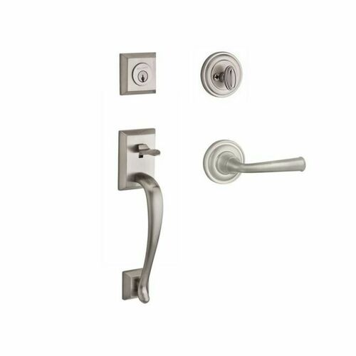 Baldwin SCNAPXFEDRTRR150 Single Cylinder Napa Handleset Right Hand Federal Lever and Traditional Round Rose with 6AL Latch and Dual Strike Satin Ni...